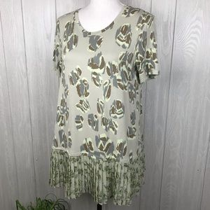 LOGO by Lori Goldstein pleated hem detail tunic